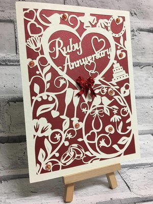 Ruby Wedding Anniversary Card.