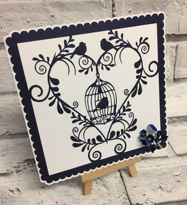 Floral Heart and Bird Cage Scalloped Topper
