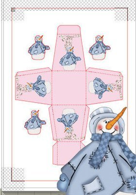 Snowman (blue) Christmas Treat Box  Print N cut for Cameo