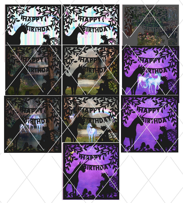 Fantasy background unicorns fairies  paper pack
