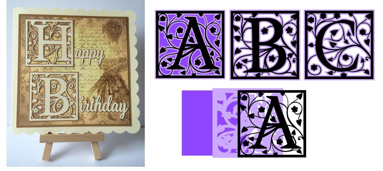 Full set of framed A - Z Alphabet Alphas Set 2  FCM for Scan n Cut