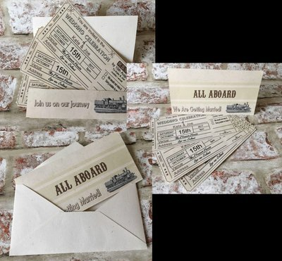 Vintage Train Ticket - Wedding Wallet Invitation Pack fully editable see details