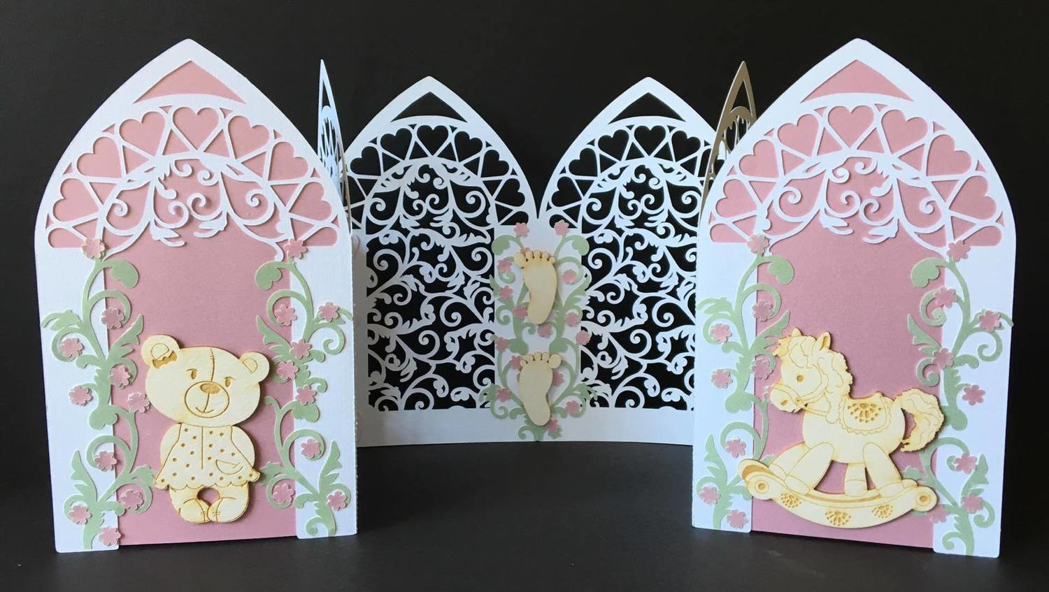 Triple Arch fold card with Filigree