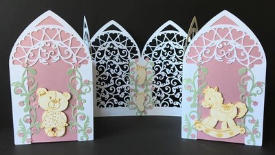 Triple Arch fold card with Filigree  FCM