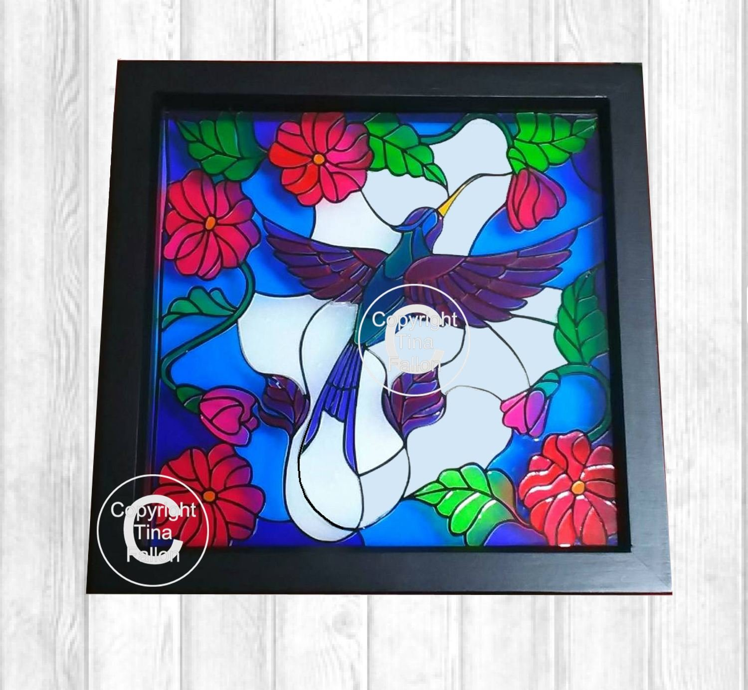 Hummingbird Scene - great with stained glass vinyl  FCM format