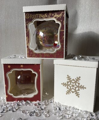 80mm Christmas Bauble Ornament Box from A4 card - multi design choice see details -