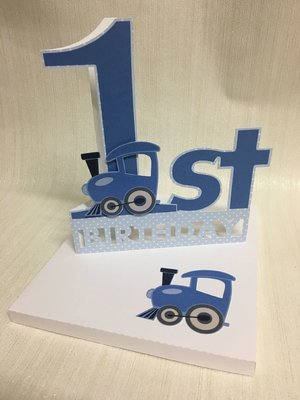 Shaped 1st Birthday Card with Train detail and card box  - studio format