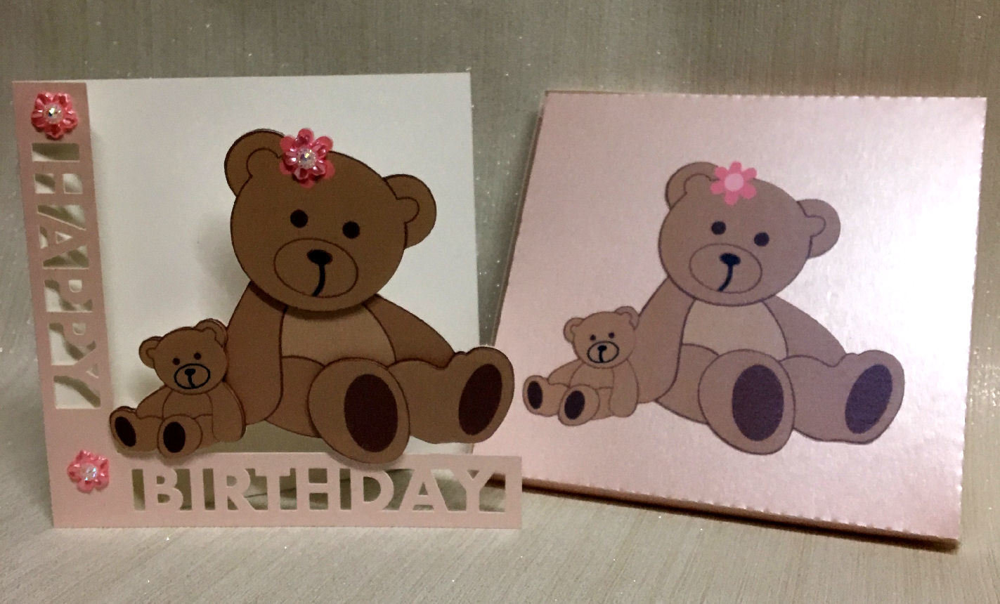 Shaped  Birthday Card with Teddy detail and card box  - studio format