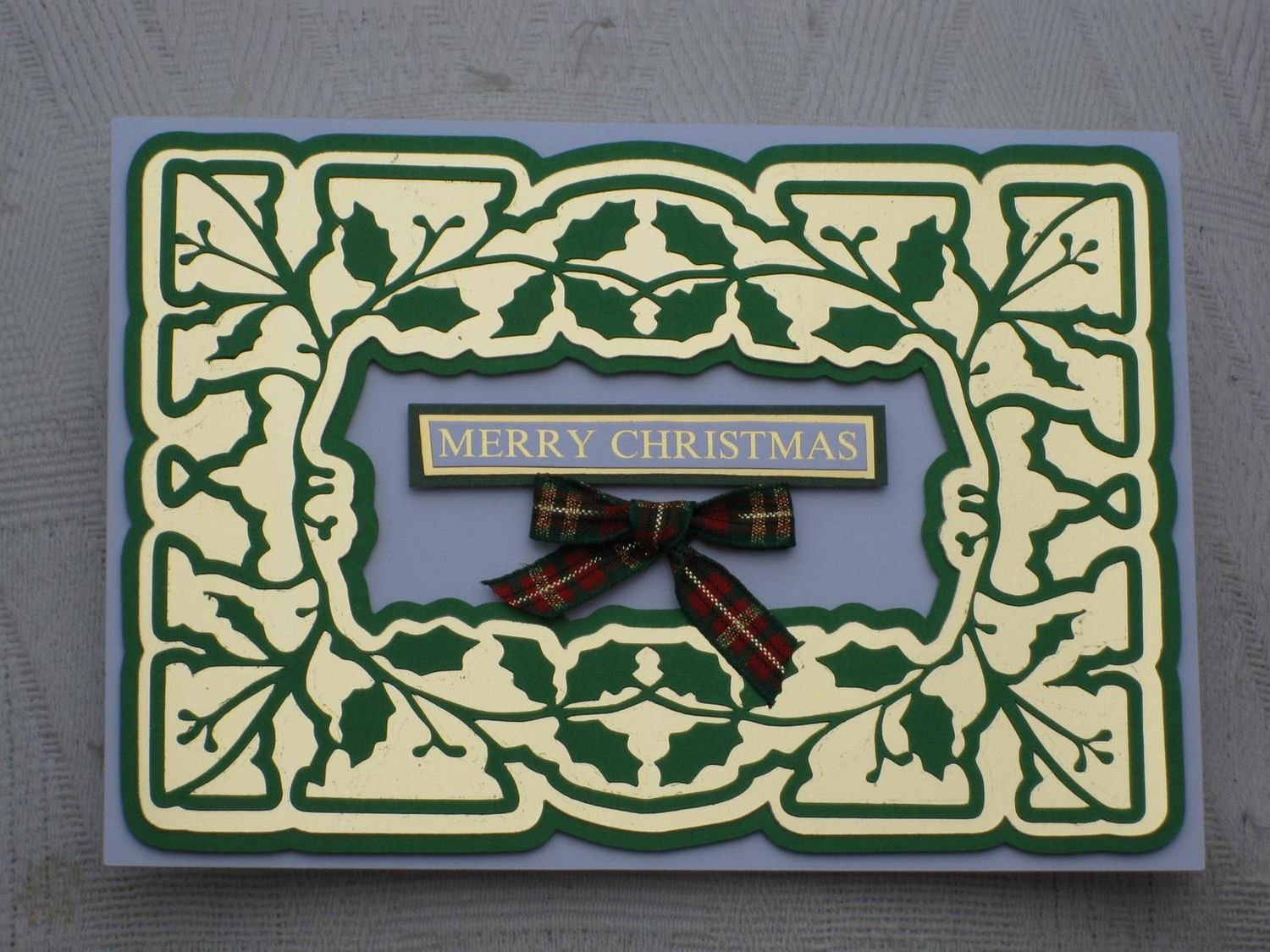 Card Template Holly FAUX EMBOSSED