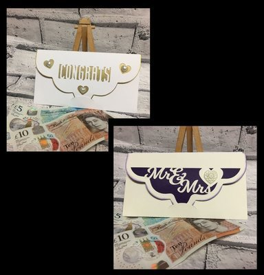 Wedding / Anniversary / Congratulations  -  Money Gift Wallets set of 2