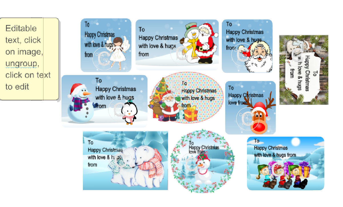 Christmas cut n print labels for Children with editable text - for Silhouette cutting machines or PDF