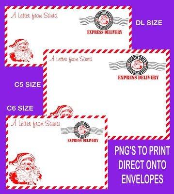 Letter from Santa Envelope printable set 2 READ DESCRIPTION - DL /C6/C5 Transparent PNG and JPEG printable