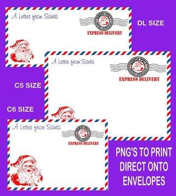 Letter from Santa Envelope printable set 3 READ DESCRIPTION - DL /C6/C5 Transparent PNG and JPEG printable