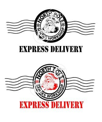 2 x Santa North Pole Express Delivery Postmark Transparent PNG /JPEG image only Commercial Use