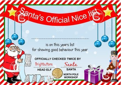 Santa's Nice List Certificate  Studio Print n Cut / PDF and JPEG formats - commercial use