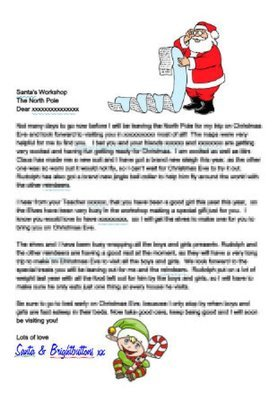 Editable Personalised letter from Santa and Elf studio and  Word doc format - commercial use