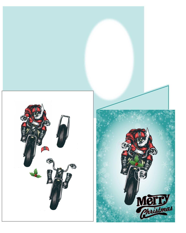 Bikers Motorbike  Christmas Card 3d Silhouette studio print n cut  or handcut jpeg