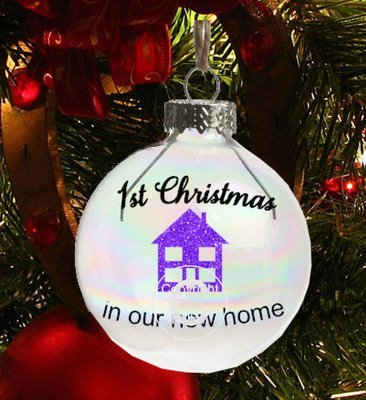 1st Christmas in new home Christmas Bauble Ornament - with precurved text  4 sizes