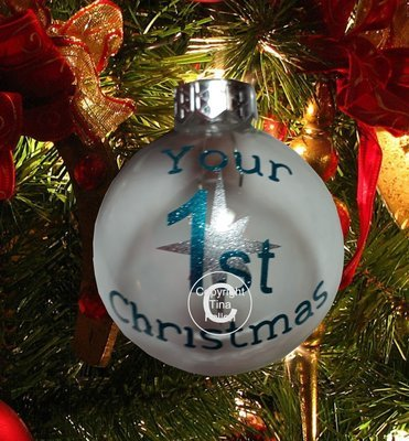 1st Christmas- Christmas Bauble Ornament - with precurved text  4 sizes