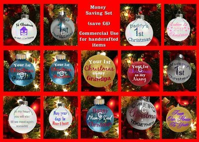 SPECIAL OFFER (save £6)   14 x Christmas Bauble Ornament - with precurved text  4 sizes