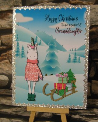 Christmas Unicorn and Sleigh 3d card, insert and box  studio/pdfs/jpegs and png
