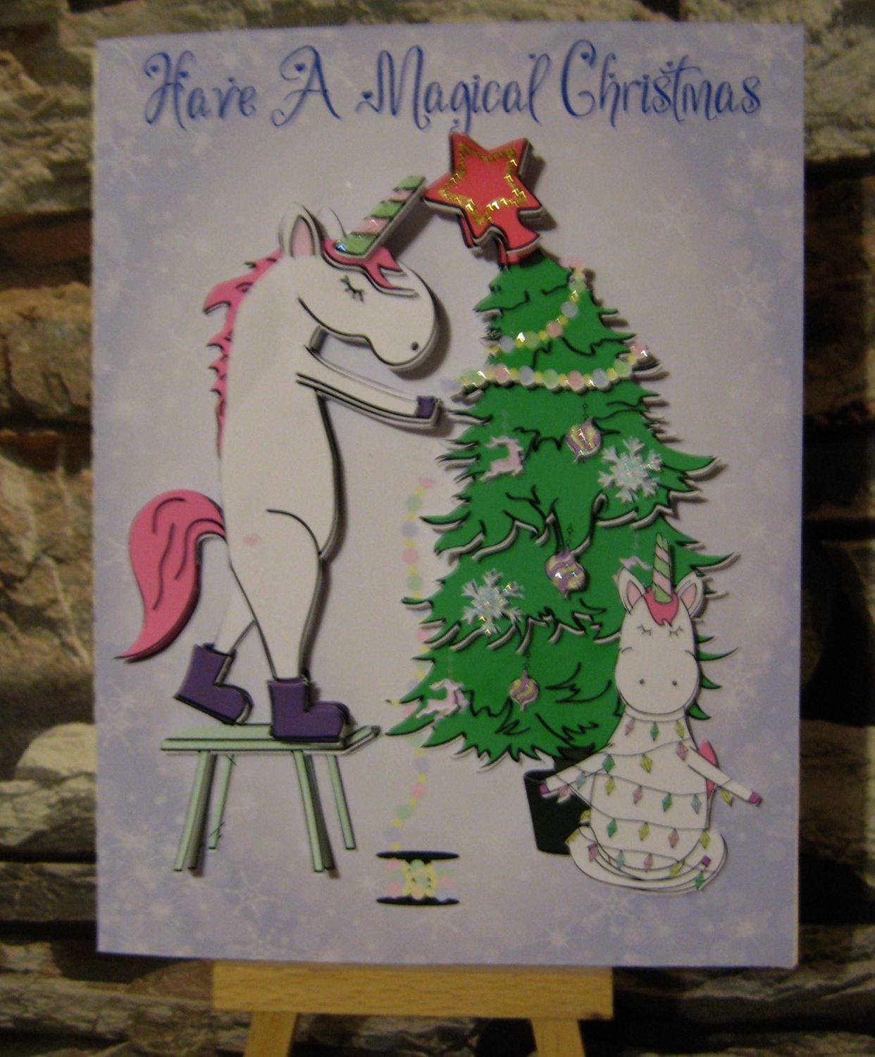 Christmas Unicorn Decorating the Tree 3d card, insert and box  studio/pdfs/jpegs and png