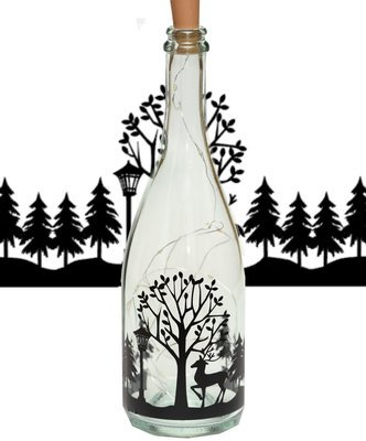 Deer In Forest Wine bottle vinyl decor  Commercial use see description