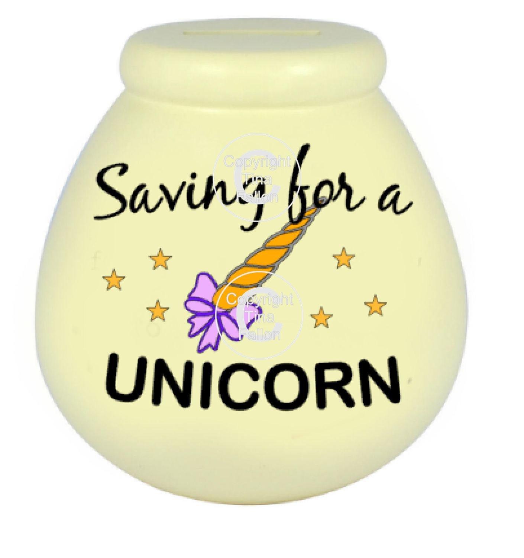 Saving For A Unicorn  - Money pot / bottle precurved text vinyl quote