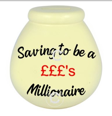 Saving to be a Millionaire - Money pot / bottle precurved text vinyl quote