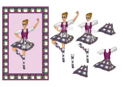 Scottish Highland Dancer  - Scotland Kilt Scot  JPEG PRINTABLE ONLY 300dpi