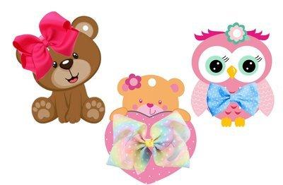 Hair Bow Card Holders -  Cute bear and owl print n cuts