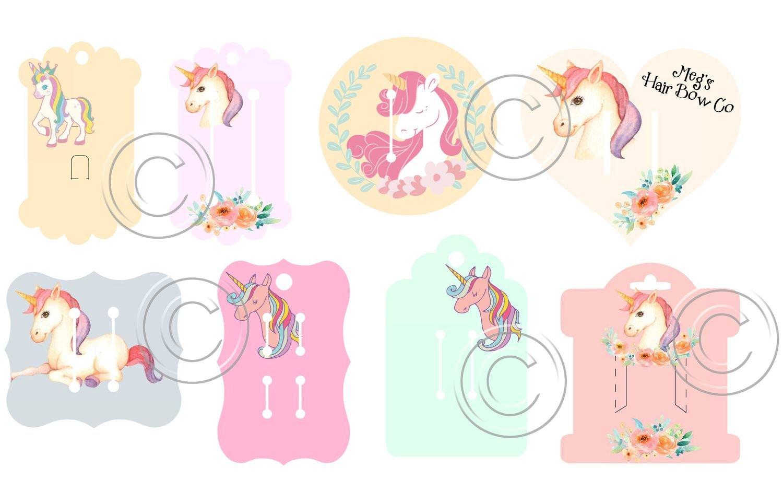 Hair Bow Card Holders -  Unicorn print n cuts