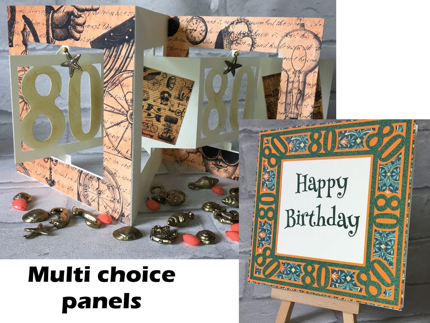 80th Birthday Card  Accordian style with optional multi decor panels
