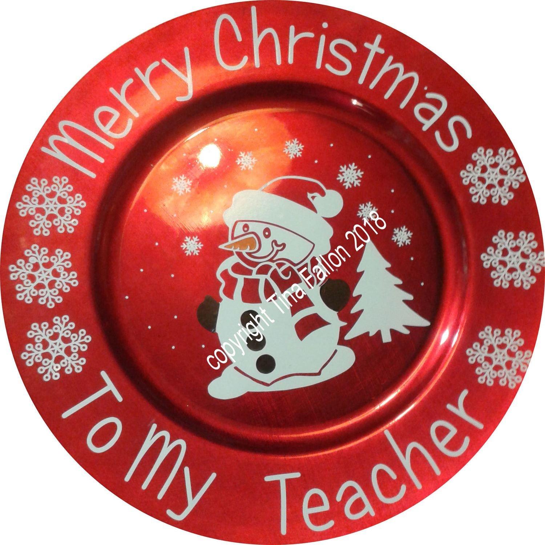 Cute Snowman Vinyl design for Christmas charger plates