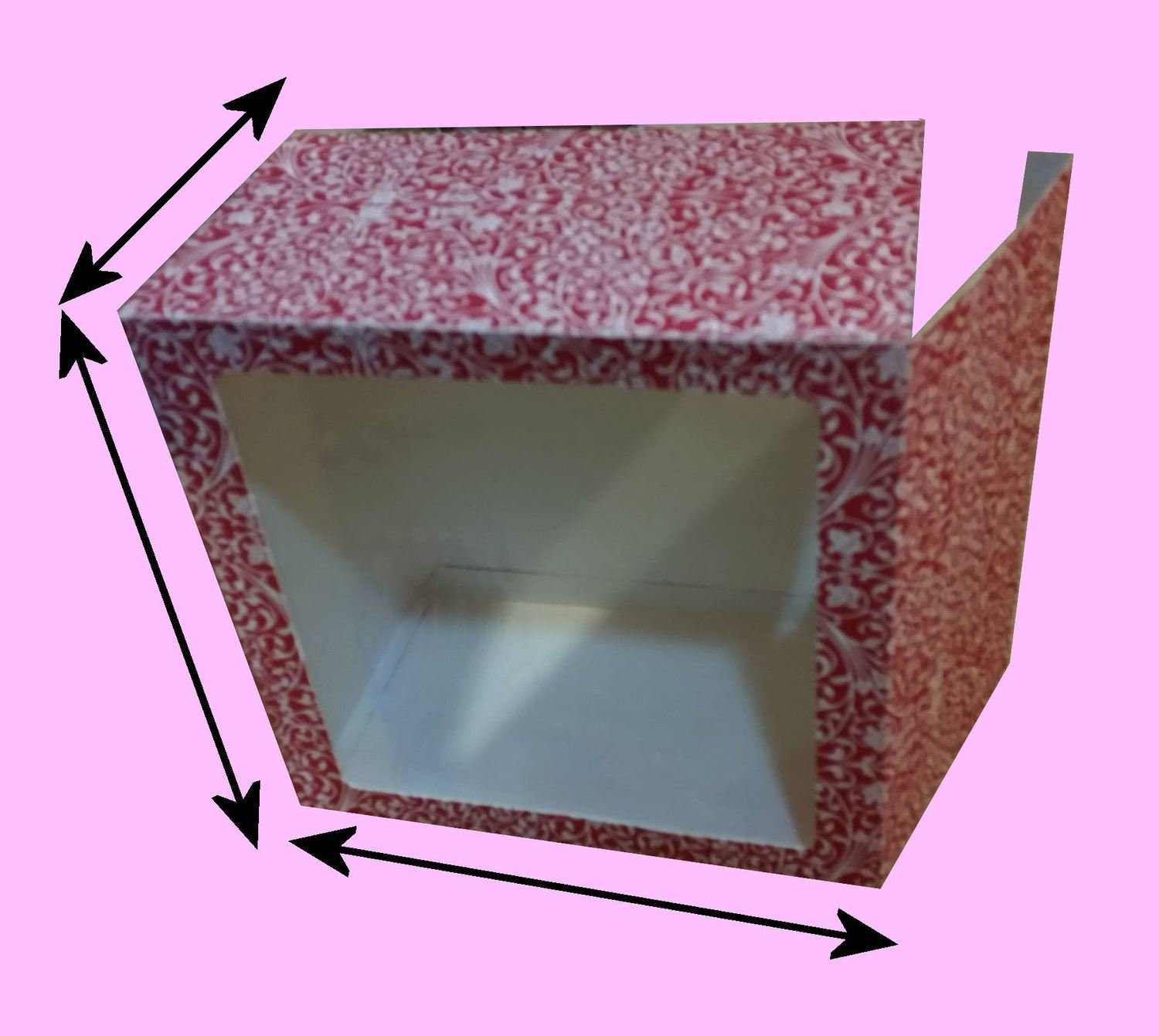 Gift Box 7W x 7H x 4D inches with front aperture and tabbed lid closure