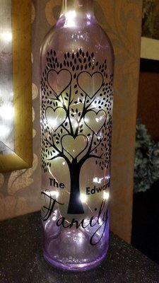 Family Tree for 5 - Wine Bottle, light block decal. Easy Weed -Read description