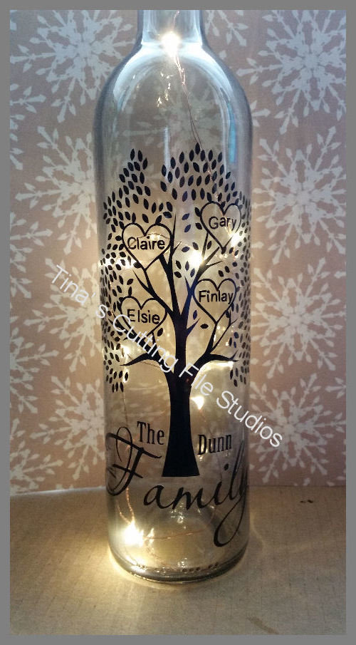 Family Tree for 4 - Wine Bottle, light block decal. Easy Weed -Read description