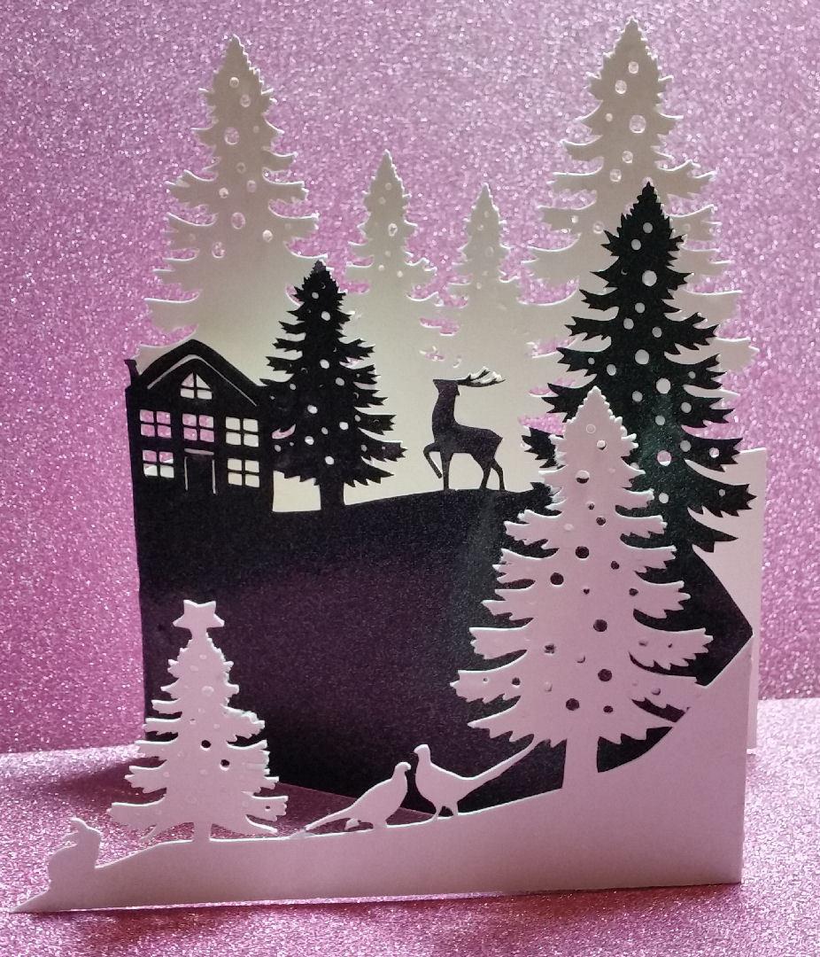 Christmas Fir Trees ,Reindeer Country Scene Tri Fold Card