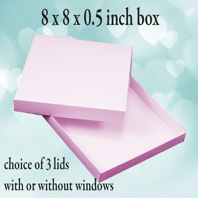 Square Box 8 x 8 x 0.5 inches Sturdy Double Skinned box with choice of 3 lids (2 with openings)