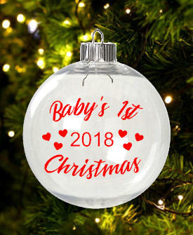 Babies 1st Christmas  Christmas Bauble Ornament - with precurved text  4 sizes