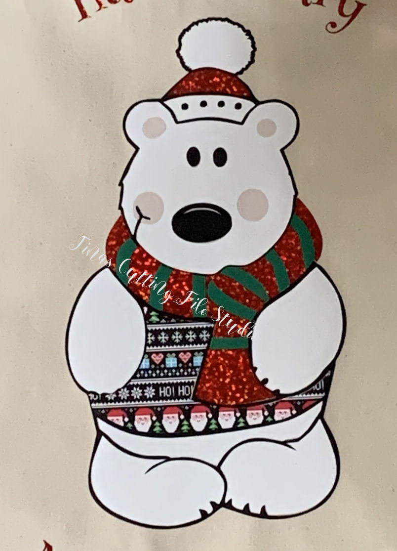 Christmas POLAR Bear - knock out method  for multi layers inc glitter