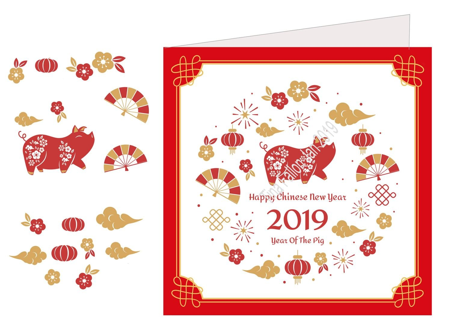 Chinese Year of the Pig  3D print and cut card front / topper