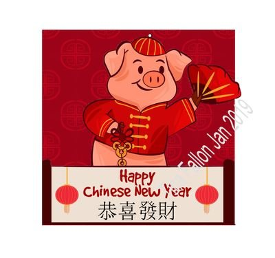 Chinese Year of the Pig CARD  with shaped front and background inc for card backer