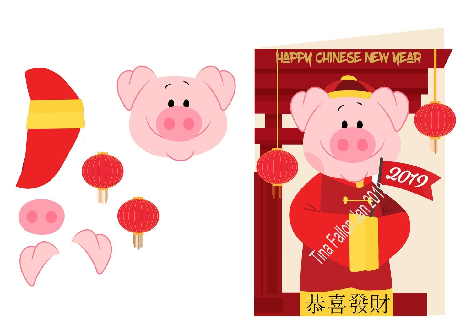 Chinese Year of the Pig 3D CARD  with shaped front