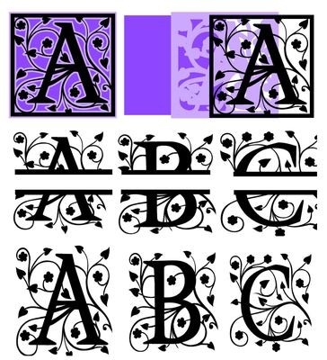 All  3 sets of fancy A - Z Alphabet Alphas 3 for the price of 2