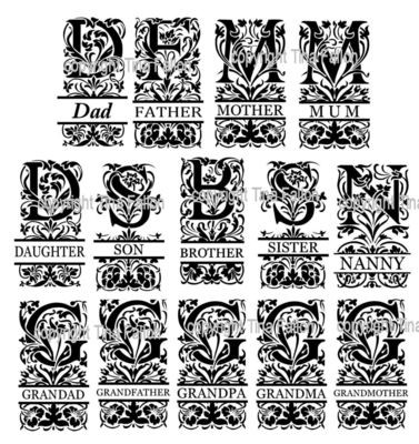 Set of 14 Close Family Decorative Split Lettering