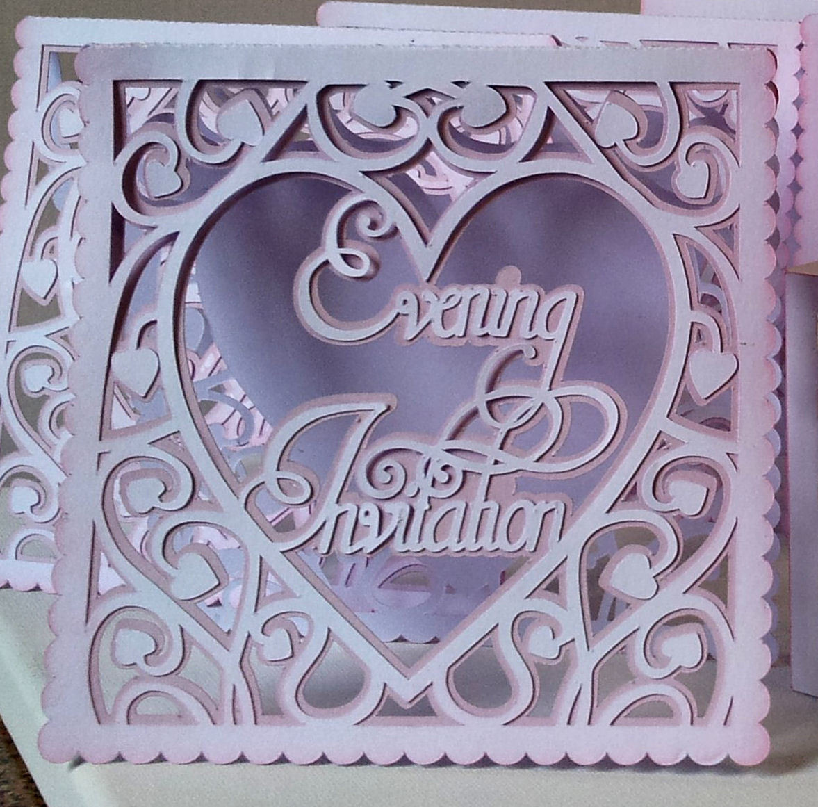 Heart Swirls Evening Wedding Invitation card template