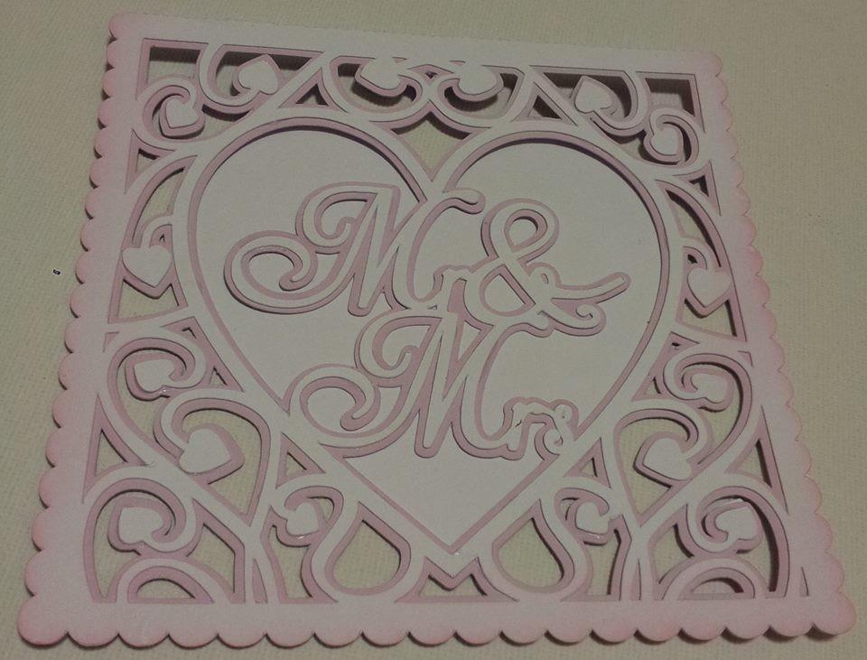 Heart Swirls  Mr & Mrs card template