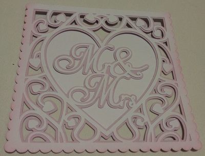 Heart Swirls  Mr & Mrs card template