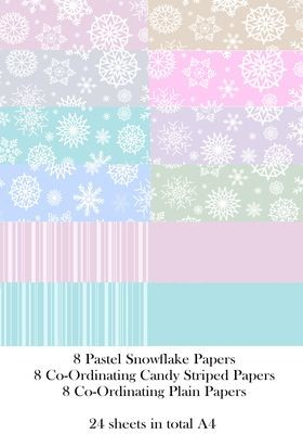 SEPT /OCT  - Set of 24 Pastel Christmas Snowflake Themed papers A4